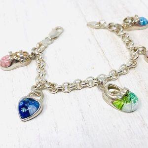 Like🆕rare Alan K Millefiori Murano charm bracelet